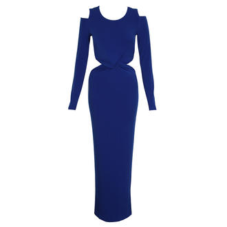 View Item Royal Blue Shoulder Cut Out Twist Dress
